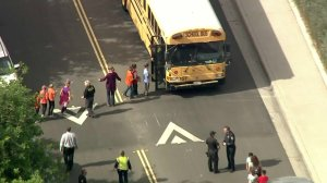 Students are taken off campus at Castle View Elementary on Oct. 31, 2017. (Credit: KTLA)