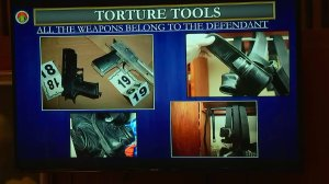 Tools allegedly used to torture Gabriel Fernandez were displayed during opening statements on Oct. 16, 2017. (Credit: KTLA)