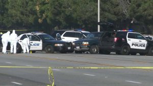 Officials remained at the scene of a deadly officer-involved shooting in Torrance on Oct. 14, 2017. (Credit: KTLA)