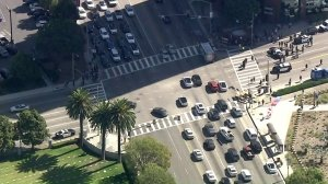 Traffic was blocked by DACA supporters in Westwood as the renewal deadline for the program loomed in Oct. 5, 2017. (Credit: KTLA)