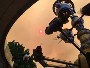 KTLA viewer Juan Campos sent in this photo of smoke from the Canyon Fire 2 over a ride at Disneyland on Oct. 9, 2017.