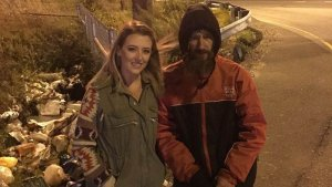 Kate McClure, left, and Johnny Bobbitt Jr., right, are seen in a photo posted to a GoFundMe page.