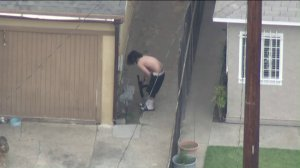 A man was shot after a sheriff's SWAT team surrounded a home in Compton on Nov. 2, 2017. (Credit: KTLA)
