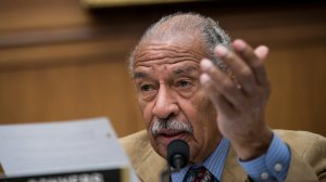 Rep. John Conyers (D-MI) questions witnesses during a House Judiciary Committee hearing concerning the oversight of the U.S. refugee admissions program, on Capitol Hill, Oct. 26, 2017, in Washington, D.C. (Credit: Drew Angerer/Getty Images)