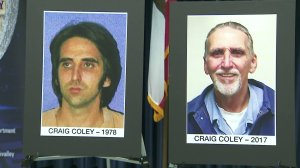 Craig Coley is shown in photos from 1978 and 2017 during a news conference with Simi Valley Police Department and the Ventura County District Attorney's Office on Nov. 20, 2017. (Credit: KTLA)