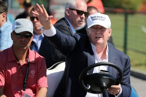 Republican presidential candidate Donald Trump makes an appearance prior to the start of play during the final round of the World Golf Championships at Trump National Doral Course on March 6, 2016, in Florida. (Credit: Mike Ehrmann / Getty Images)