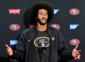Colin Kaepernick speaks to the media after a the San Francisco 49ers preseason win over the San Diego Chargers on Sept. 1, 2016, in San Diego. (Credit: Harry How / Getty Images)