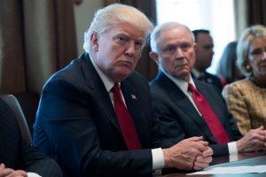 President Donald Trump and Attorney General Jeff Sessions attend a panel discussion on an opioid and drug abuse in the Roosevelt Room of the White House March 29, 2017 in Washington, DC. (Credit: Shawn Thew-Pool/Getty Images)