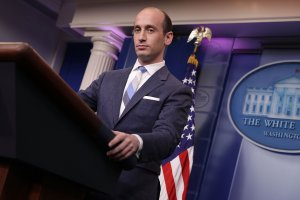 Senior Adviser to the President for Policy Stephen Miller talks to reporters during a White House press briefing Aug. 2, 2017. (Credit: Chip Somodevilla / Getty Images)
