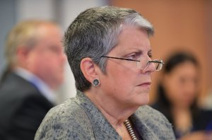 UC President Janet Napolitano listens to a speaker during a discussion organized by The Progressive Policy Institute at The University of California Washington Center on Sept. 21, 2017, in Washington, DC. (Credit: Mandel Ngan / AFP / Getty Images)