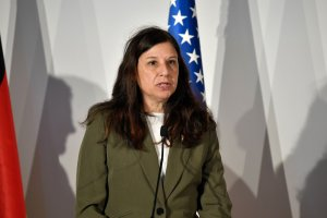 Acting Secretary of the Department of Homeland Security Elaine Duke delivers a speech during a press conference at the end of the G7 summit of Interior Ministers with European Union representatives and members of the private sector on October 20, 2017. (Credit: ANDREAS SOLARO/AFP/Getty Images)