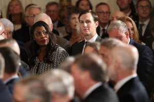 Senior advisor to President Donald Trump Jared Kushner, right, and Omarosa Manigault attend a ceremony at the White House Oct. 23, 2017. (Credit: Win McNamee/Getty Images)