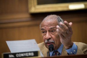 Rep. John Conyers (D-MI) questions witnesses during a House Judiciary Committee hearing concerning the oversight of the U.S. refugee admissions program, on Capitol Hill, October 26, 2017 (Credit: Drew Angerer/Getty Images)