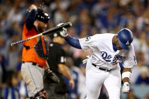 Yasiel Puig reacts after lining out during the fifth inning against the Houston Astros in Game 7 of the 2017 World Series at Dodger Stadium on Nov. 1, 2017. (Credit: Ezra Shaw/Getty Images)