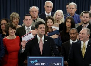 Speaker of the House Paul Ryan, surrounded by American families and members of the House Republican leadership, introduces tax reform legislation, Nov. 2, 2017, in Washington, DC. (Credit: Win McNamee / Getty Images)