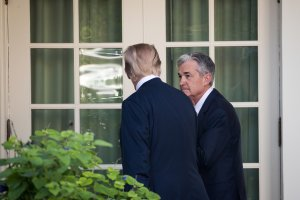 President Donald Trump and his nominee for the chairman of the Federal Reserve Jerome Powell exit following a press event in the Rose Garden at the White House, Nov. 2, 2017. (Credit: Drew Angerer/Getty Images)