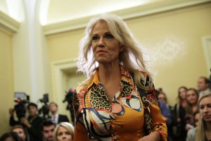 White House Counselor Kellyanne Conway arrives at a news conference on tax reform November 7, 2017 on Capitol Hill (Credit: Alex Wong/Getty Images)