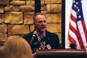 Republican candidate for U.S. Senate Judge Roy Moore speaks during a mid-Alabama Republican Club's Veterans Day event on Nov. 11, 2017, in Vestavia Hills, Alabama. (Credit: Wes Frazer/Getty Images)