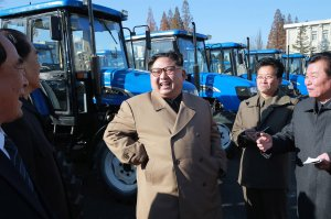 This undated picture released by North Korea's official Korean Central News Agency (KCNA) on Nov. 15, 2017, shows North Korean leader Kim Jong-Un inspecting the Kumsong Tractor Factory in Nampo City, North Korea. (Credit: STR / AFP / Getty Images)