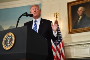 President Donald Trump delivers remarks on November 15, 2017 in the Diplomatic Room at the White House in Washington,DC. (Credit: NICHOLAS KAMM/AFP/Getty Images)