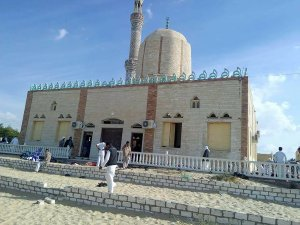 View of the Rawda mosque, roughly 40 kilometres west of the North Sinai capital of El-Arish, after a gun and bombing attack, on Nov. 24, 2017. (Credit: Stringer / AFP / Getty Images)