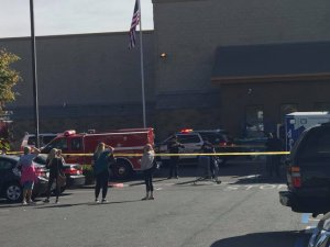 Authorities respond to a report of a stabbing that resulted in a person's death outside a Walmart in Temecula on Nov. 29, 2017. (Credit: Danielle Rhoads)