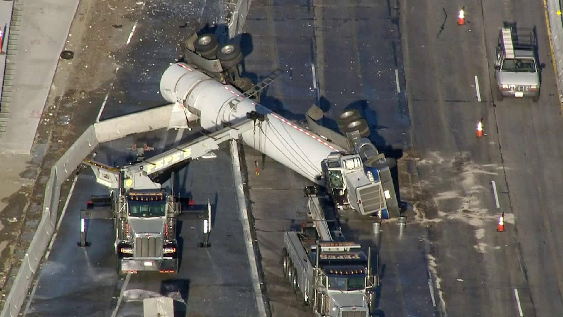 A milk tanker overturned on the 5 Freeway in Burbank on Nov. 22, 2017. (Credit: KTLA)
