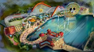 An artist concept illustrates the four new neighborhoods that will represent beloved Pixar stories and the newly themed attractions that will be found throughout the permanent land of Pixar Pier. (Credit: Disney•Pixar)