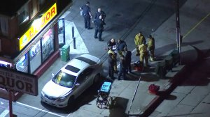 Authorities were investigating after police say a store clerk shot and killed a would-be robber on Nov. 6, 2017. (Credit: KTLA)