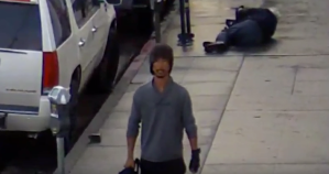 The man who hit another man over the head on a busy Hollywood area street in broad daylight on Oct. 20, 2017, is seen in a still from video released by the LAPD on Nov. 29, 2017.