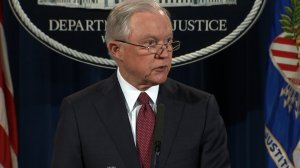 Attorney General Jeff Sessions speaks on behalf of the Department of Justice. (Credit: CNN)