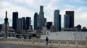 A view of the Los Angeles skyline from 4th Street Bridge in 2016. (Credit: Mel Melcom / Los Angeles Times)