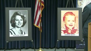 Rhonda Wicht and her son Donald are shown in photos from 1978 during a news conference with Simi Valley Police Department and the Ventura County District Attorney's Office on Nov. 20, 2017. (Credit: KTLA)