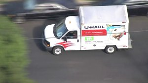 The driver of U-Haul truck led authorities on a chase on Nov. 9, 2017. (Credit: KTLA)