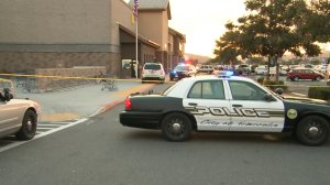 Police investigated a fatal stabbing in the parking lot of a Walmart in Temecula on Nov. 29, 2017. (Credit: KTLA)