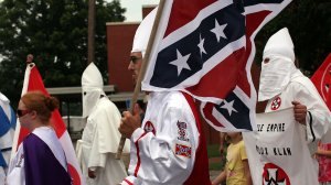 Members of the KKK participate in a march on July 11, 2009, in Pulaski, Tenn. (Credit: Spencer Platt/Getty Images)