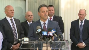 L.A. Councilman Joe Buscaino speaks during a news conference about a homicide arrest on Nov. 7, 2017. (Credit: KTLA)