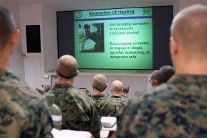 An image release by the U.S. Marines in 2012 shows troops during an anti-hazing seminar.