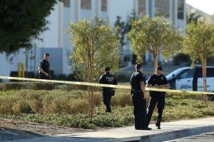 Fontana police investigate the scene of a suspected murder-suicide at a logistics company in Fontana on Dec. 29, 2017. (Credit: Stan Lim, San Bernardino Sun / SCNG)