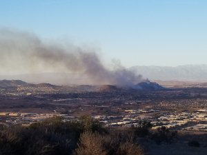 A photo taken above Temecula shows the Liberty Fire in the Murrieta area on Dec. 7, 2017. (Credit: Matthew King)
