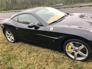 A Ferrari California that was allegedly stolen by a Florida Uber driver is seen in a photo released Dec. 28, 2017, by the Gainesville Police Department.