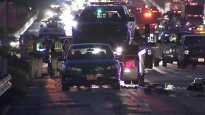 A patrol vehicle is seen on a tow truck following a collision on the 405 Freeway in West Los Angeles on Dec. 12, 2017. (Credit: KTLA)