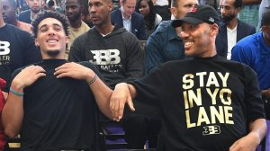 LaVar Ball, right, sits with son LiAngelo after a press conference in El Segundo on June 23, 2017. (Credit: Wally Skalij / Los Angeles Times)