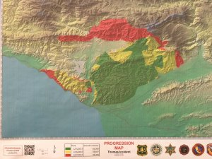 A map tweeted out by Ventura County fire officials shows the progression of the Thomas Fire as of Dec. 8, 2017.