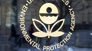The U.S. Environmental Protection Agency's logo is displayed on a door at its headquarters on March 16, 2017, in Washington, D.C. (Credit: Justin Sullivan/Getty Images)