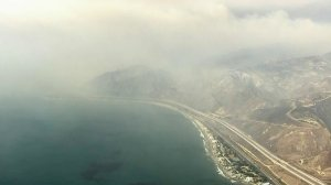 Smoke from the Thomas fire burning in Ventura County fans out across the Pacific Ocean on Dec. 7, 2017. (Credit: KTLA)