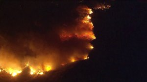 A fire that scorched about 2,500 acres in 2 hours prompted mandatory evacuations in the Santa Paula area on Dec. 4, 2017. (Credit: KTLA)