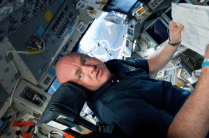 In this handout provided by National Aeronautics and Space Administration (NASA), Astronaut Mark Kelly, STS-134 commander, gets to work soon after Endeavour reaches Earth orbit. (Credit: NASA via Getty Images)