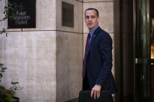 Corey Lewandowski leaves the Four Seasons Hotel after a meeting with Donald Trump and Republican donors on June 9, 2016. (Credit: Drew Angerer/Getty Images)