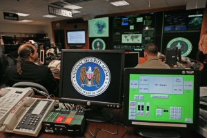A computer workstation bears the National Security Agency logo inside its Fort Meade, Maryland, headquarters in a 2006 file photo. (Credit: Paul J. Richards / AFP / Getty Images)